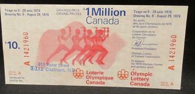 Olympic Lottery Canada Draw #9 August 29 1976 Red Unused $10 Ticket Series A