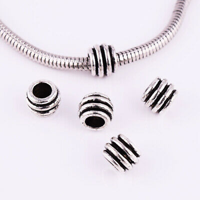 Large Hole Spacer Beads Metal Tibetan Silver Charm Jewelry Findings 8x6mm