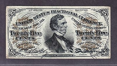 """US 25c Fractional Currency Note """"a"""" FR 1295 Ch AU"""