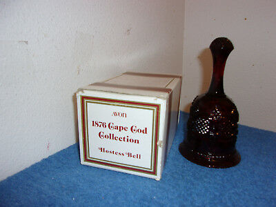 Vintage (New)  Avon Ruby Red Glass Dinner Bell / Cape Cod Pattern  Released 1979