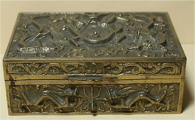 rare antique  ornate elaborate CHINA brass tea caddy  LINED box EGYPTIAN LOOKING