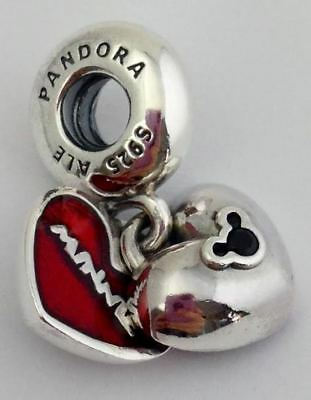 Authentic Pandora Mickey & Minnie Double Heart Charm, 925 Silver 791441NCK, New