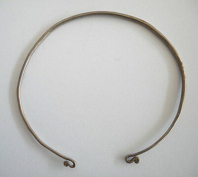 Charming Unusual Old Child's Coin Silver Neck Ring Torque Laos SE Asia