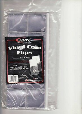 """50   """"BCW""""   Vinyl  COIN FLIPS   no PVC    2 X 2   with   Acid Free INSERTS"""