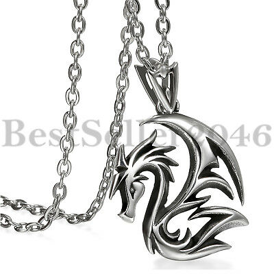 """Punk Gothic Polished Stainless Steel Dragon Pendant Chain Necklace for Men 22"""""""