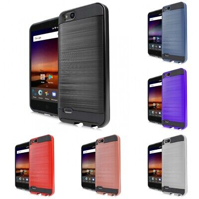 FOR ZTE ZFIVE G LTE Z557BL Hard Brushed Armor SLIM SHOCKPROOF Case Cover