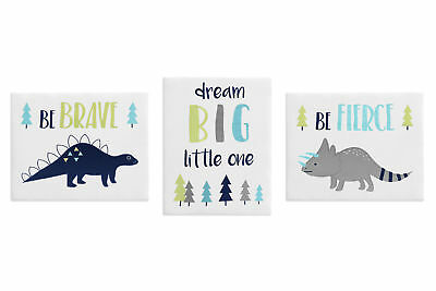 Navy Grey Dinosaur Dino Wall Art Room Decor Hangings Baby Nursery Kids Children