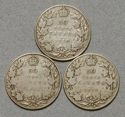 CANADA 50 Cents 1910,1918,1919 - Lot of 3 Large Sterling Silver Coins, No Res.!