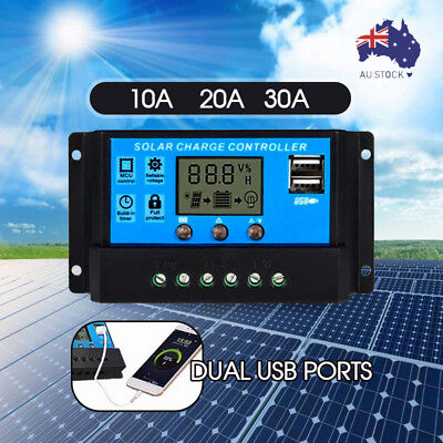 10A/20A/30A 12V-24V Solar Panel Regulator Charge Controller USB + Anderson Plugs