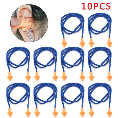 10 pairs Reusable Safety Soft Silicone Corded Ear Plugs Hearing Protect Earplug