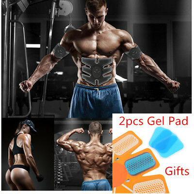 New EMS Abdominal Muscle Trainer ABS Fit Body Exercise Toning belt lot +Gel Pad#