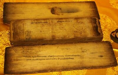Wonderful 19th Century Old Antique Tibet Buddhism Manuscript Sutra Lection 15.7""