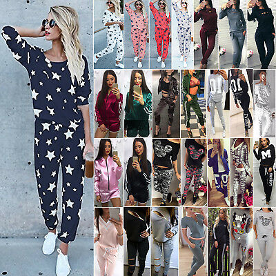 2Pcs Womens Tracksuit Sweatshirt Tops Pants Set Casual Jogger Sports Sweat Suits