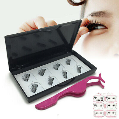 8 Pcs Magnetic Eyelashes Reusable Double Magnet False Eye Lashes & Tweezer