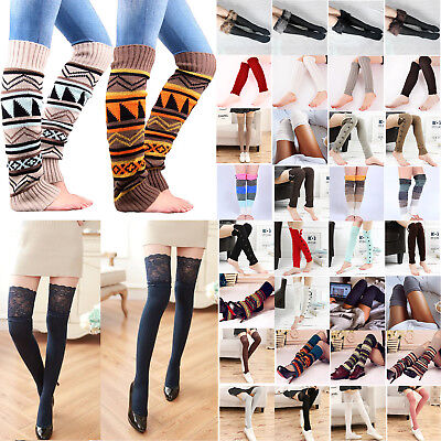 Women Winter Cable Knit Over Knee Long Boot Socks Thigh High Leg Warmer Stocking