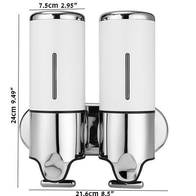 1000ml Double Liquid Soap Dispenser Stainless Shampoo Box Wall Mounted White