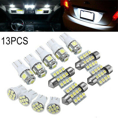 13 X Car White LED Lights Kit for Stock Interior & Dome & License Plate Lamps