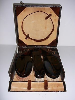 Three Piece Brush vanity set made in England faux tortoise shell plastic Vintage