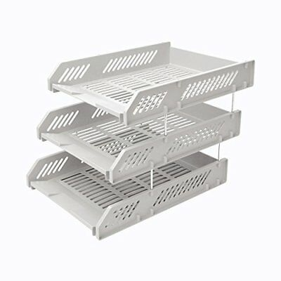 Comix Office File Tray Three Stackable Layers with Metal Brackets  Grey B2060GY