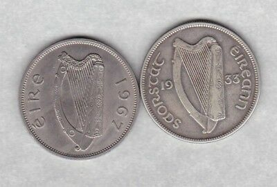 1933 & 1967 Ireland Half Crowns In Near Very Fine Or Better Condition