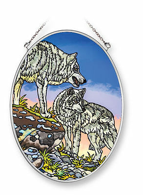 """Amia Stained Glass Suncatcher 5.5"""" X 7"""" Oval Got Your Back Wolves Wolf  #42219"""