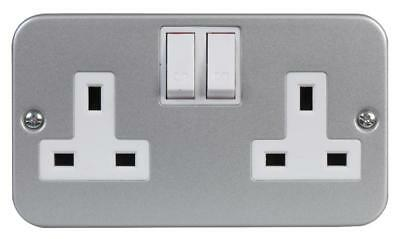 Wall Socket DOUBLE UK Plug FEMALE 2 Gang Switched SILVER METAL CLAD HIGH QUALITY