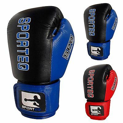 Sporteq Leather Boxing Gloves, MMA, Sparring Punch Bag, Muay Thai Training Mitt