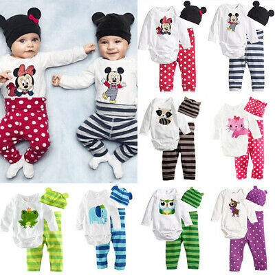 Newborn Infant Baby Boys Girls Romper Bodysuit Jumpsuit 3PCS Clothes Outfits Set