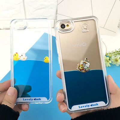 Funny Swimming Ducks Moving Liquid Phone Case Cover For iPhone Samsung Galaxy