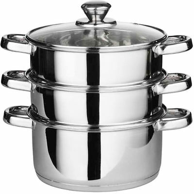 3Pc 24Cm Stainless Steel Steamer Cooker Pot Set Glass Lids 3 Tier Pan Cook Large