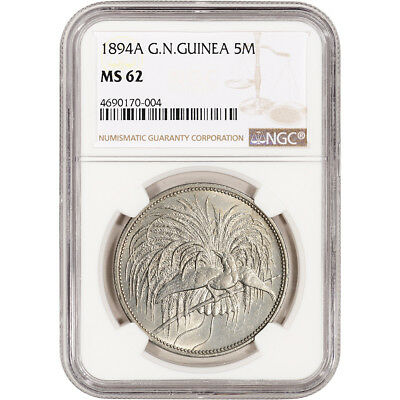 1894-A German New Guinea Silver 5 Mark - NGC MS62
