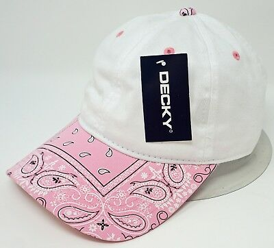 0cf8861d5e862 White w Pink Paisley Visor Unconstructed Cap DECKY Dad Hat OSFM Adjustable  NWT