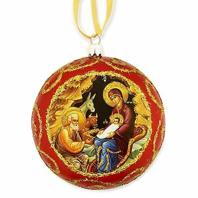 Red Religious Christmas Ornament Traditional Byzantine Icon of the Nativity 5""