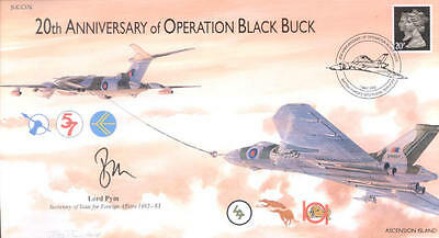 CC76c JSCC RAF Falklands War Vulcan Black Buck cover signed Lord Pym MC