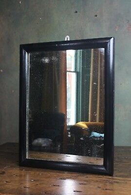 Ebonised Elegant Tailors Drapers Haberdashery Shop Bullnose Mirror Antique Foxed