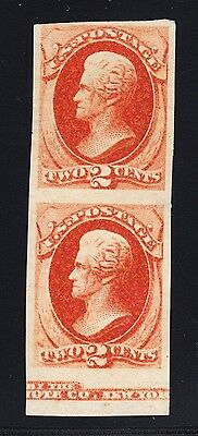 US 178P5 (178a) 2c Jackson Unique Proof Pair on Stamp Paper NG w/ MI SCV $600