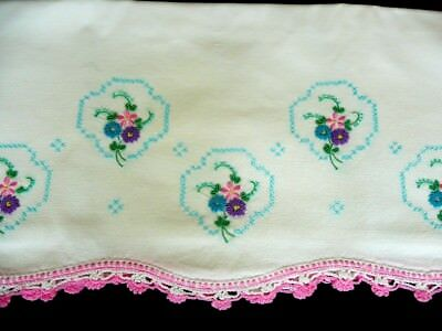 Vintage Embroidered Pillow Case Crochet Lace Pink White Scallop Cottage Chic