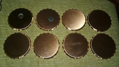 "Vintage Coppercraft Guild Set of 8 Copper Coasters with Black Vinyl Insert 3.5""D"