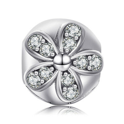 Jewelrypalace 925 Silver Blossom Flower Cubic Zirconia Beads Charms Fit Bracelet