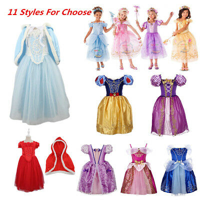 Kids Girls Belle Cinderella Princess Dress Tangled Rapunzel Fancy Dress Outfits