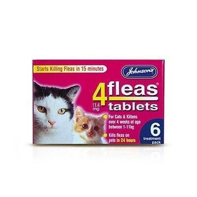 Johnsons 4 Fleas Tablets For Cats & Kittens x 6 Tablets 50g - Bulk Deal Of 6x -