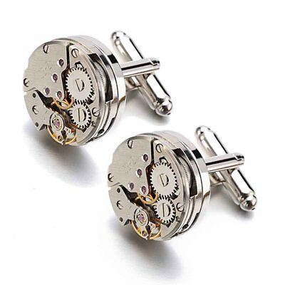 Steampunk Style Watch Movement Men's Silver Cufflinks Cuff Links Wedding Gift UK