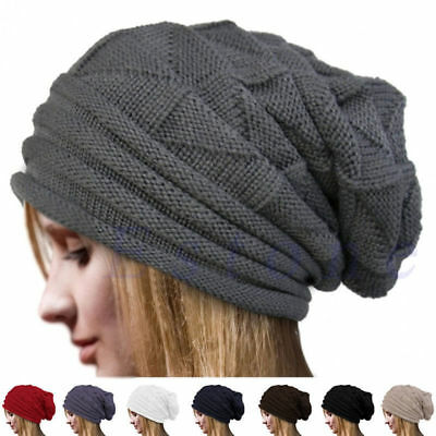 Unisex Women Men Winter Warm Ski Knit Crochet Slouch Baggy Beanie Hat Cap Beret