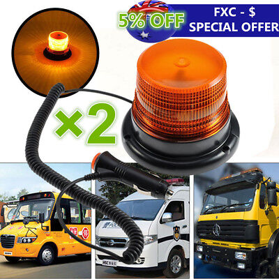 2X Truck Vehicle LED Magnetic Warning Light Strobe Flashing Roof Light Amber AHY