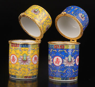 2 Porcelain Toothpick Box Hand-Painted Flower Collection Value