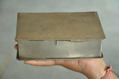 Old Brass Nickel Plated 6 Compartment Book Shape Betel Nut Box , Rich Patina