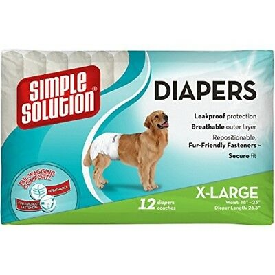 Solution Simple Couches Jetables X-large 12-pk x 1 - Dog Disposable 12 Diapers