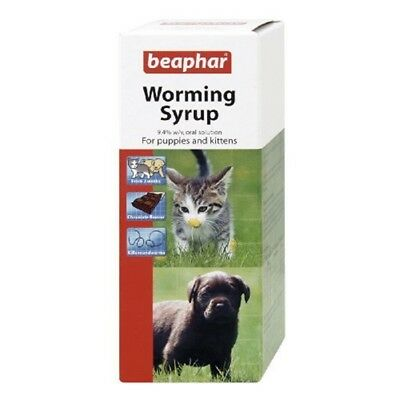 Beaphar Dog & Cat Worming Syrup: 45ml - Syrup Puppies Kittens Treatment