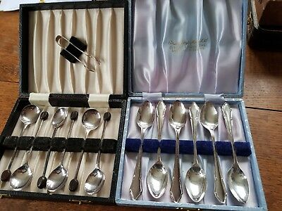 Vintage silver plated boxed sets of tea/coffee spoons-job lot.Presentation boxed