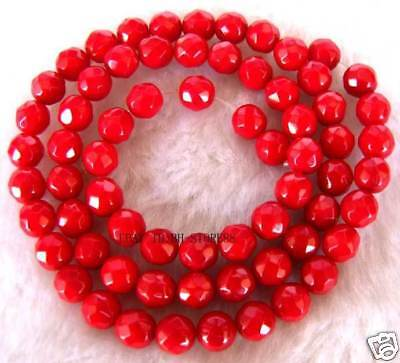6mm Ocean Coral Round Faceted Beads 16''